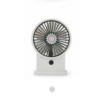 Yase YS2213B-W Portable Rechargeable White Mini USB Fan with LED Light & 3 Speeds