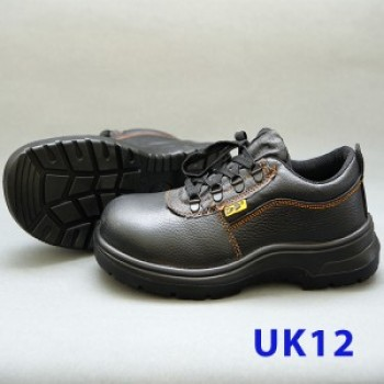 Black Grain Leather Laced Safety Shoe- Low Cut (UK 12)