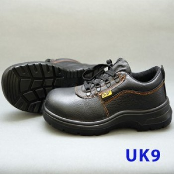 Black Grain Leather Laced Safety Shoe- Low Cut (UK 9)