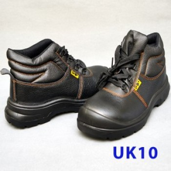 Black Grain Leather Laced Safety Shoe- Mid Cut (UK10)