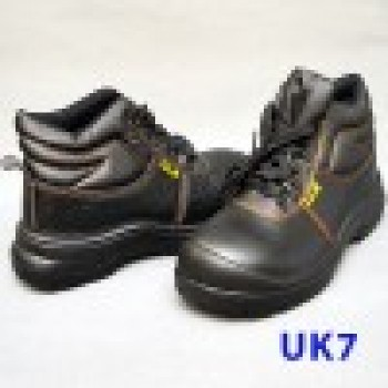 Black Grain Leather Laced Safety Shoe- Mid Cut (UK7)