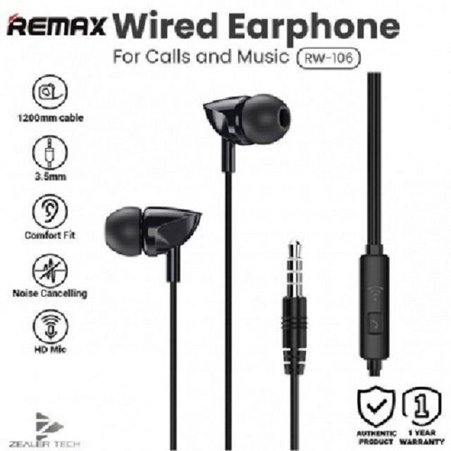 Remax 100% ORIGINAL RW-106 Wired Headset One-Button Control