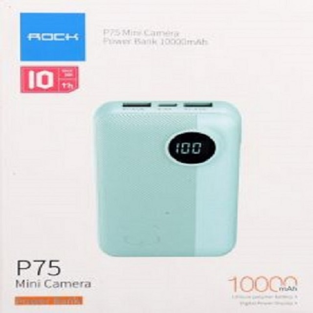 Rock P75-BL Mini PD Fast Charge and Wireless Power Bank 10000mAh - Blue