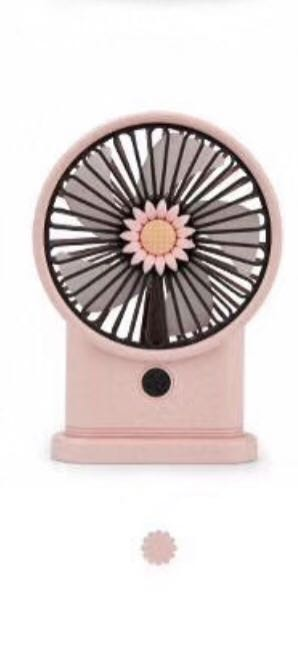 Yase YS2213B-P Portable Rechargeable Pink Mini USB Fan with LED Light & 3 Speeds