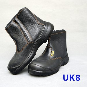 Black Grain Leather Zip-Pp Shoe (UK8)