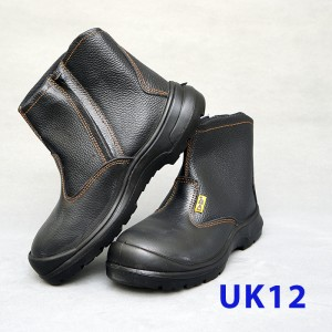 Black Grain Leather Zip-Pp Shoe (UK12)